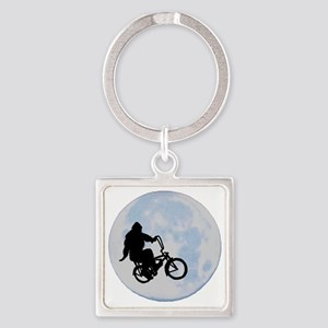 Bigfoot on bicycle Square Keychain