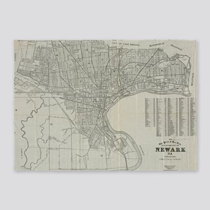 Vintage Map of Newark NJ (1920) 5'x7'Area Rug