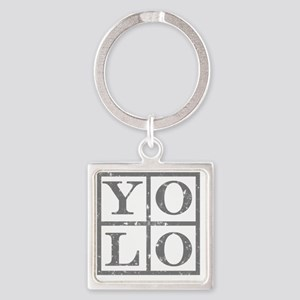 Yolo Grey distressed Square Keychain