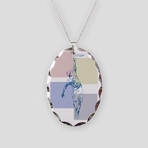 SketchySky with Blocks Necklace Oval Charm