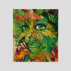 Green Woman Throw Blanket