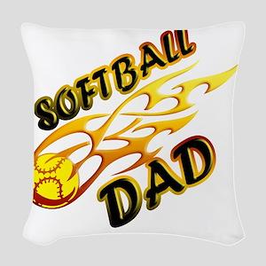 Softball Dad (flame) copy Woven Throw Pillow