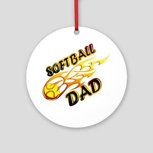 Softball Dad (flame) copy Round Ornament
