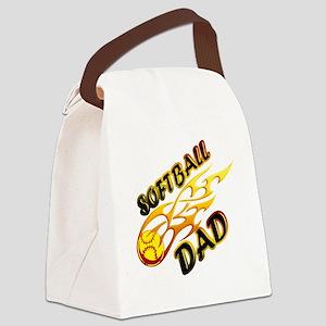 Softball Dad (flame) copy Canvas Lunch Bag