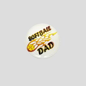 Softball Dad (flame) copy Mini Button