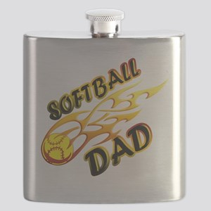 Softball Dad (flame) copy Flask