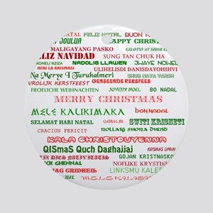 Many Merry Christmases Round Ornament