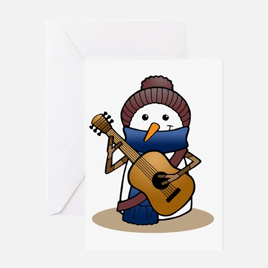Snowman with Guitar Greeting Card