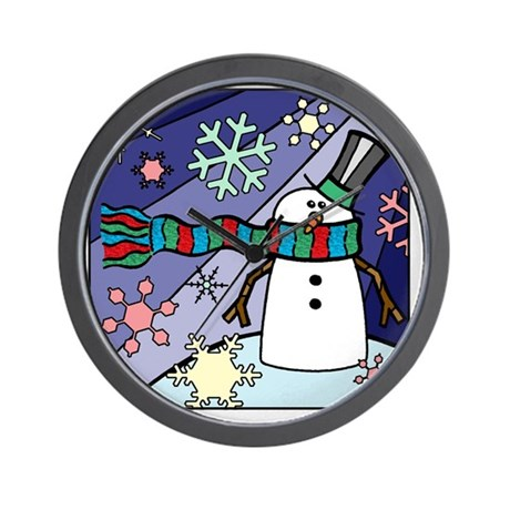 Snowman Scenery Wall Clock