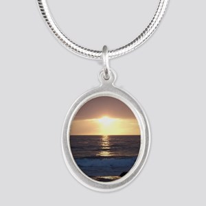 Happy Anniversary Silver Oval Necklace