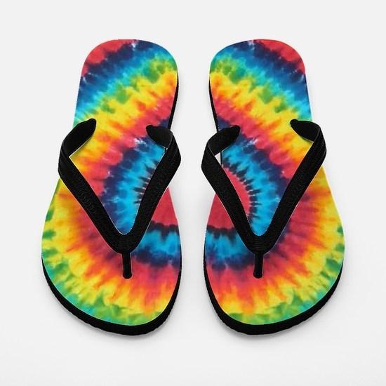 Colorful tie dye heart Flip Flops