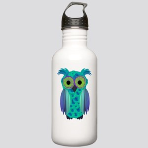Green Floral Owl Stainless Water Bottle 1.0L