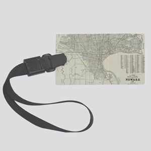 Vintage Map of Newark NJ (1920) Large Luggage Tag