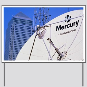 Communications dish, with Canary Wharf i Yard Sign