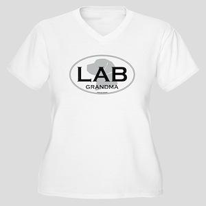 LAB GRANDMA Women's Plus Size V-Neck T-Shirt