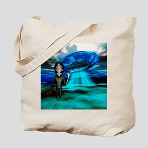 Computer artwork of an alien and a UFO Tote Bag