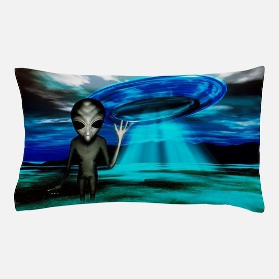 Computer artwork of an alien and a UFO Pillow Case