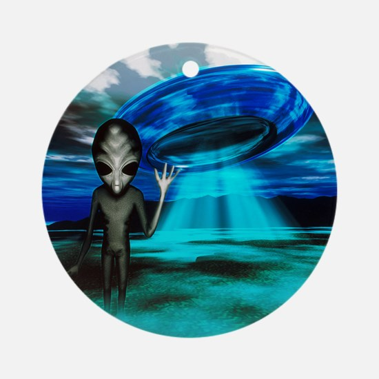 Computer artwork of an alien and a  Round Ornament