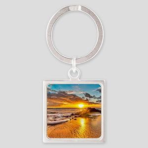 Sunrise Beach Square Keychain
