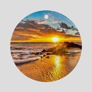 Sunrise Beach Round Ornament
