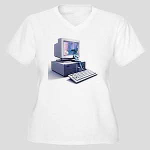 Computer pornogra Women's Plus Size V-Neck T-Shirt