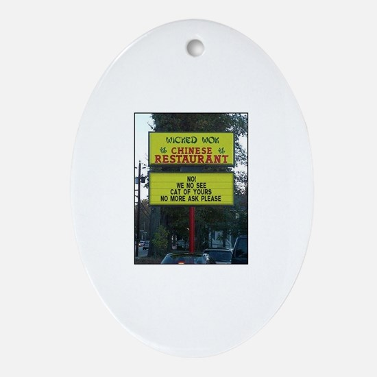 WICKED WOK - CHINESE RESTAURANT SIGN Oval Ornament