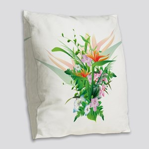 Beautiful Flowers Burlap Throw Pillow