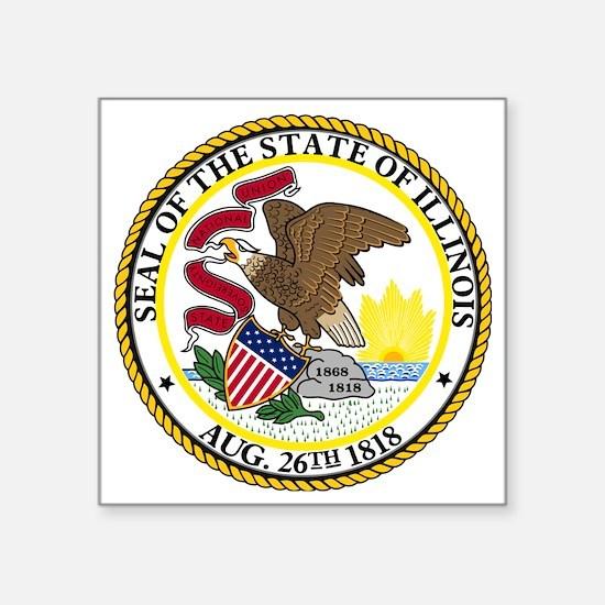 """Seal of Illinois Square Sticker 3"""" x 3"""""""