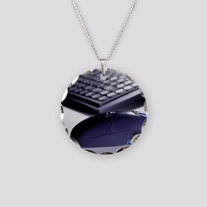 Cordless mouse and keyboard Necklace Circle Charm