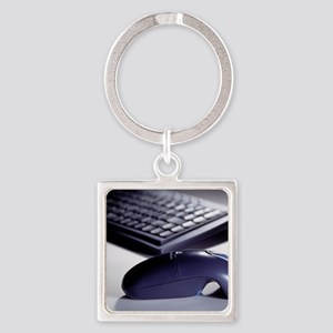 Cordless mouse and keyboard Square Keychain