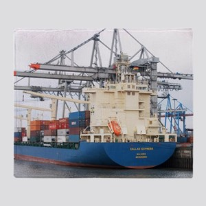 Container ship and cranes Throw Blanket