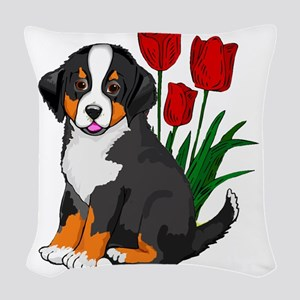 bernese puppy and tulips Woven Throw Pillow