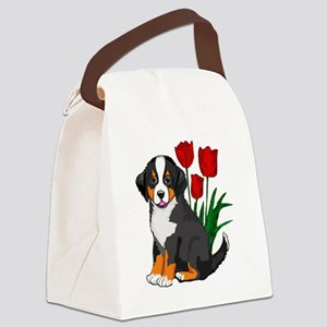 bernese puppy and tulips Canvas Lunch Bag