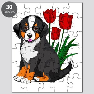 bernese puppy and tulips Puzzle
