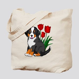 bernese puppy and tulips Tote Bag