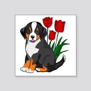 """bernese puppy and tulips Square Sticker 3"""" x 3"""""""