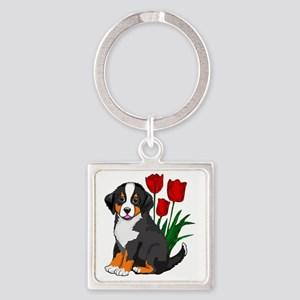 bernese puppy and tulips Square Keychain