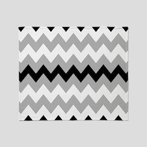 Black ,Gray and White Chevron Throw Blanket