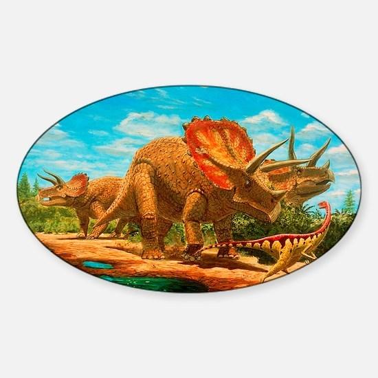 Cretaceous dinosaurs Sticker (Oval)