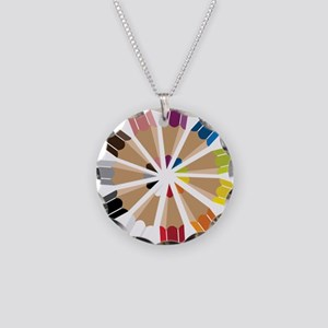 Colored Pencils Necklace Circle Charm