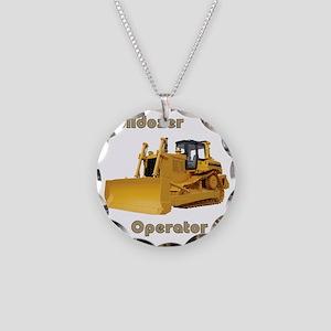 Bulldozer Operator Necklace Circle Charm