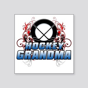"Hockey Grandma (cross) Square Sticker 3"" x 3"""