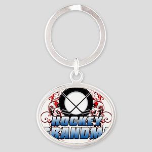 Hockey Grandma (cross) Oval Keychain