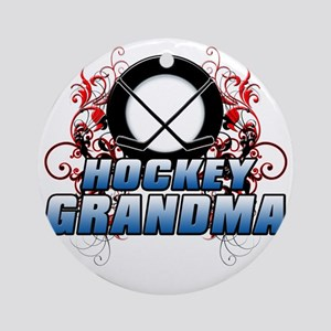 Hockey Grandma (cross) Round Ornament