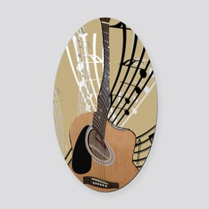 Abstract Guitar Oval Car Magnet