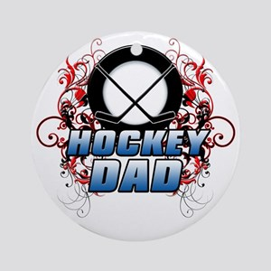 Hockey Dad (cross) copy Round Ornament