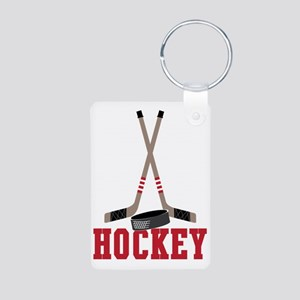 Hockey Aluminum Photo Keychain