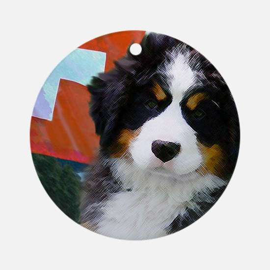 Swiss Bernese Puppy WIne Label Round Ornament