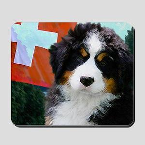 Swiss Bernese Puppy WIne Label Mousepad