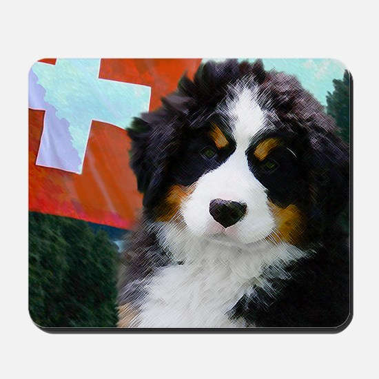 Swiss Bernese Puppy WIne Label Mousepad
